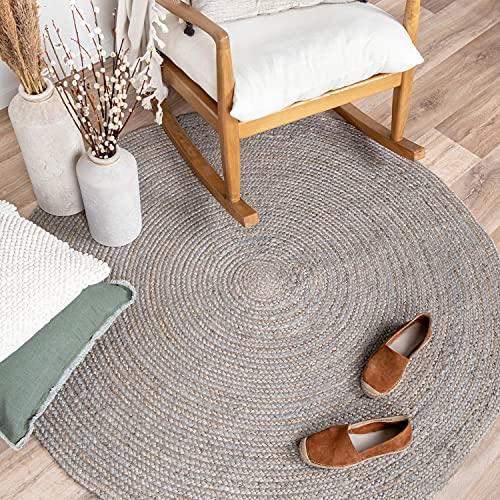 FRAAI Jute Teppich Rund - Fair Grau - Ø 175cm - Flachgewebe - Einfarbig - Boho, Ländlich, Modern - Wohnzimmer, Esszimmer, Schlafzimmer