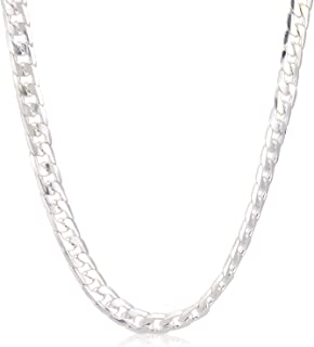 Men's Stainless Steel Cuban Curb Link Chain Necklace Silver Tone 52cm
