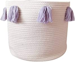 Cotton Rope Woven Basket Pink Tassel Clothing Storage Basket Children's Toys And Sundries Sorting Basket