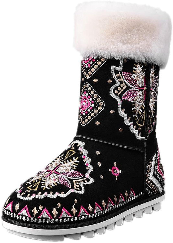 KingRover Women's Short Classic Fur Lined Winter Rain Nubuck Snow Boots