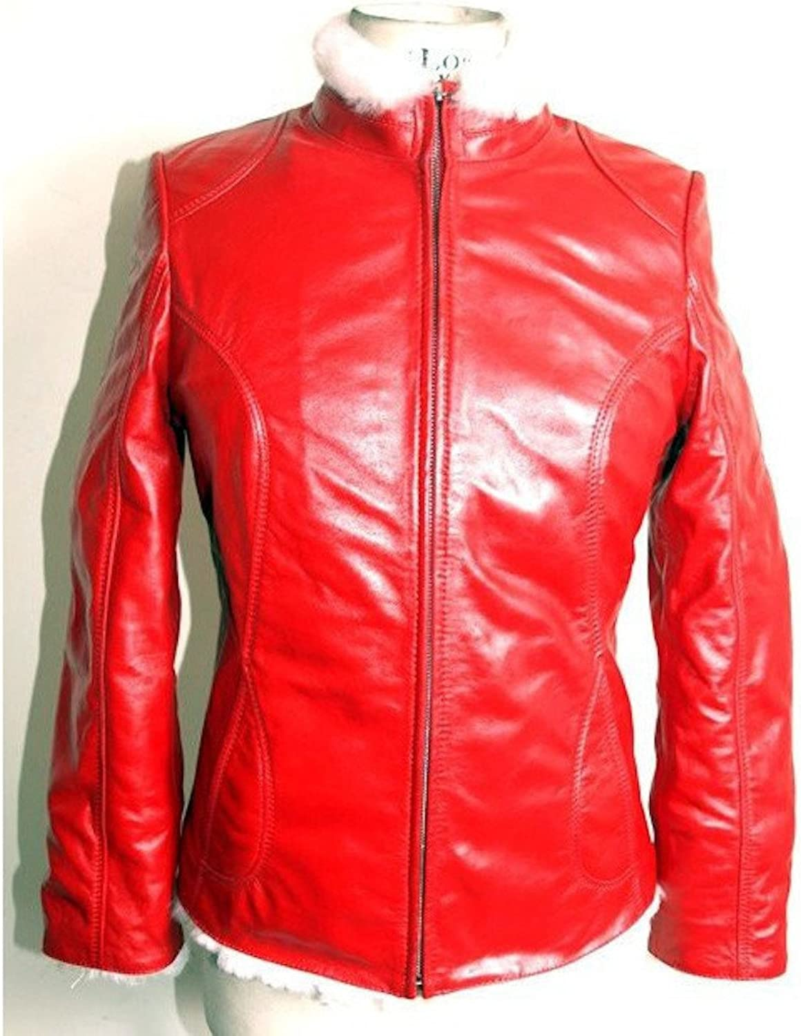 Fadcloset Ladies Carmen Fur Red Leather Jacket