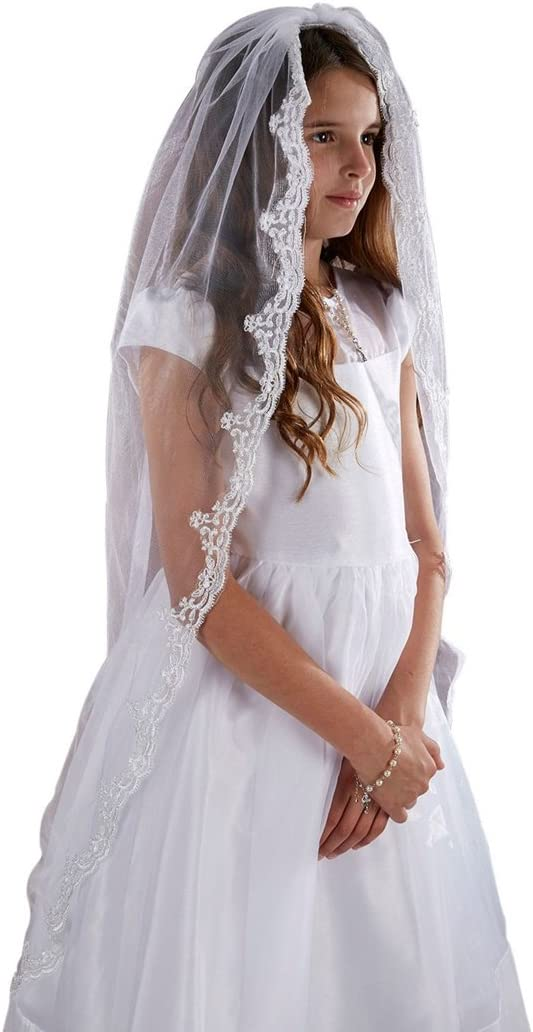 Sacred Traditions Girls Tulle Lace Edge Mantilla First Communion Veil, White, 45 Inch