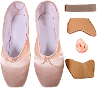 Girls Pointe Shoes Ballet Dance Toe Shoes for Professional Ladies Satin Pointe Shoes with Ribbon(Choose one Size Larger)