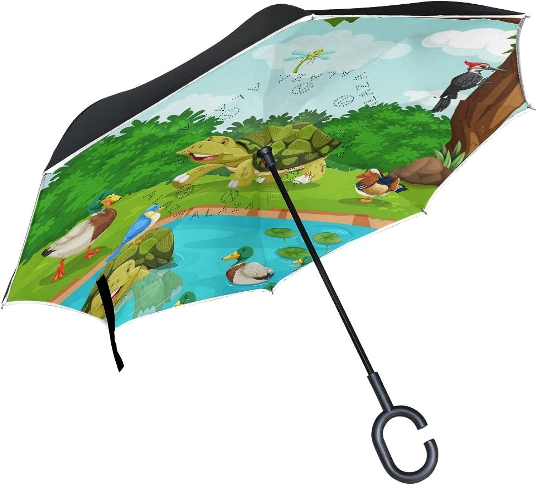 Mydaily Double Layer Ingreened Umbrella Cars Reverse Umbrella Turtle Duck Tree River Cartoon Windproof UV Proof Travel Outdoor Umbrella