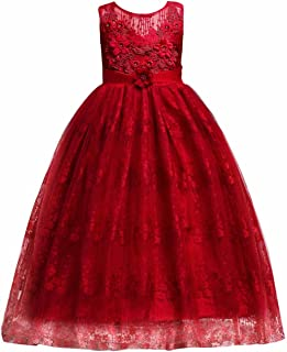 IWEMEK Little Big Girls Embroidery Flower Birthday Party Tulle Lace Dress Long Wedding Bridesmaid Communion Ball Gown
