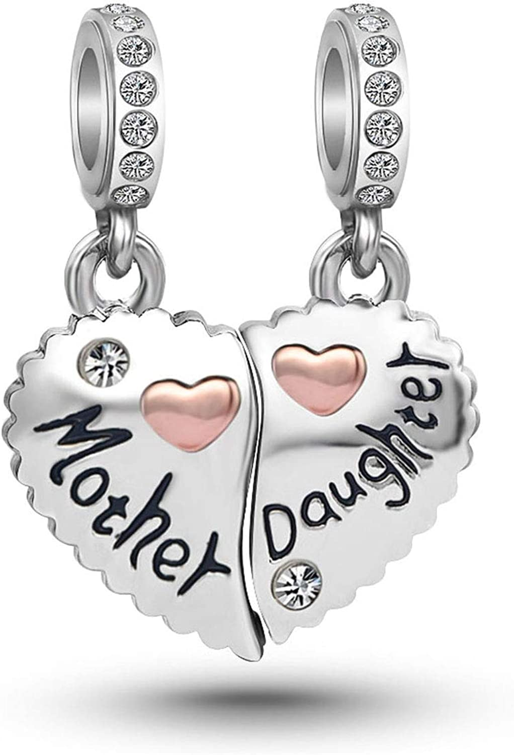 KunBead Mother Daughter and Son Dangle Charms for Bracelets Love Heart Mom Bead Charm Set for Necklace