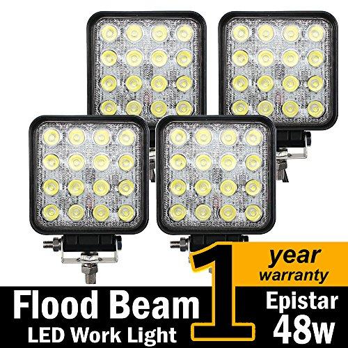 TMH® 48w Square Shape 60 Degree LED Work Light Flood Lamp Driving Light, Jeep, Off-road, 4x4,