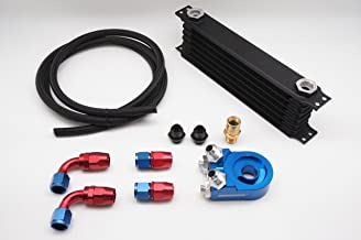 Autobahn88 Universal Oil Cooler Kit Includes: 14 Rows Oil Cooler Tank + Oil Filter Adapter + 10 Feet (3m) Nylon Braided Hose + Hose End -AN10 x4