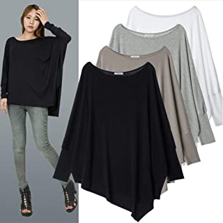 ZCLAU Women Loose bat Sleeve Large Size Women's Personality Clipping Irregular Hem Solid Color T-Shirt (Color : Silver, Size : Free Size)
