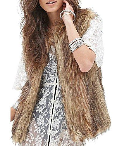 Minetom Mujer Otoño Invierno Moda Gilet Elegante Piel Sintética Chaleco Sin Mangas Vest Chaqueta (ES 40, Marrón)