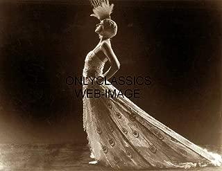 OnlyClassics Sexy Ziegfeld Girl Dolores Fierce Peacock Dress Vintage James Abbe 8.5X11 Print