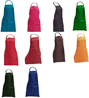 TRENDBOX 1 Set (10PCS) Waterproof Plain Color Bib Apron Adult Women Unisex w/Front Pocket Washable for Cooking Baking Kitchen Drawing