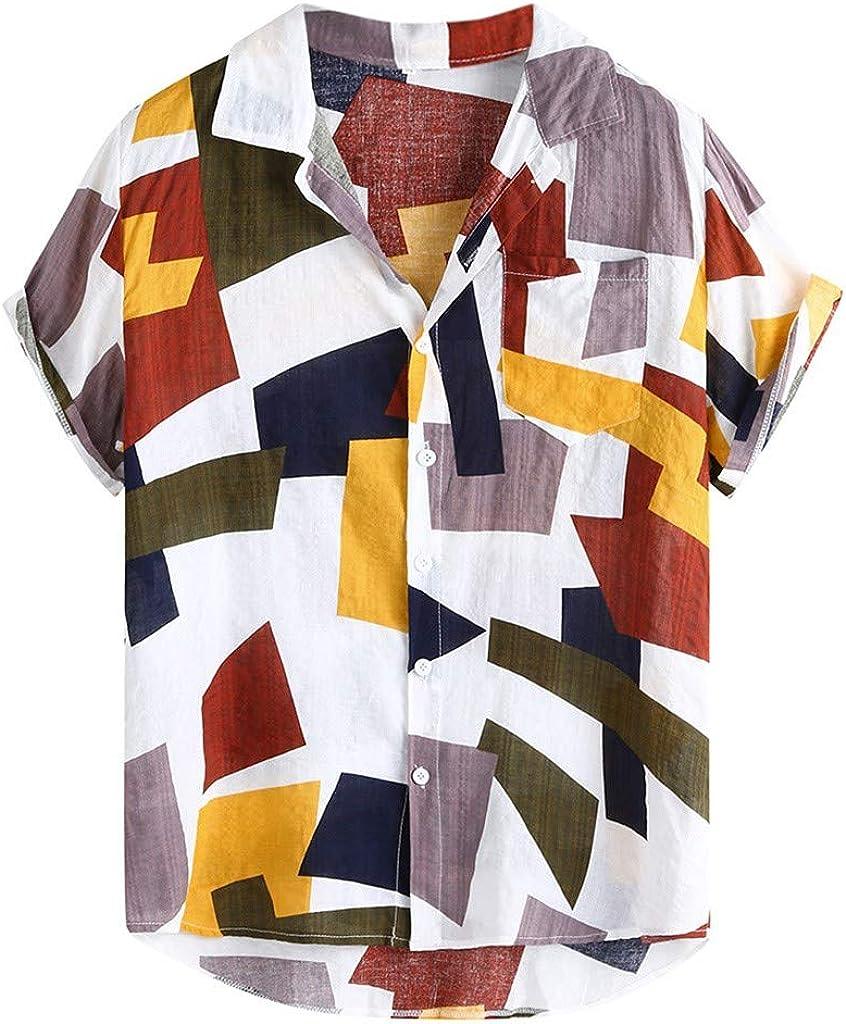 DEATU Mens Hawaiian Shirts Short Sleeve Button Shirt Colorful Summer Casual Loose T-Shirts Printed Shirts Front Pocket