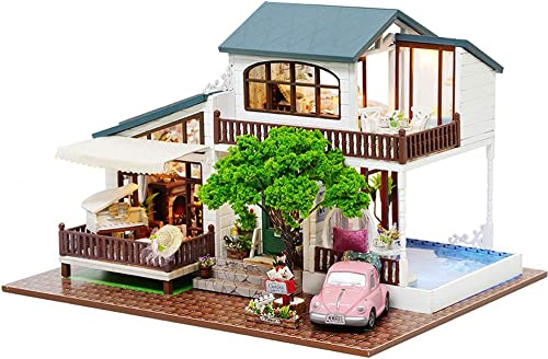 Evav Puppenhaus Miniatur DIY Haus Kit - von Hand zusammengebaute Holzmodellbau Spielzeug Geburtstagsgeschenk (London Holiday)