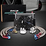 30 Row 10 AN Universal Aluminum Engine Transmission Oil Cooler Kit + 7' Engine Cooling Fan Kit Silver