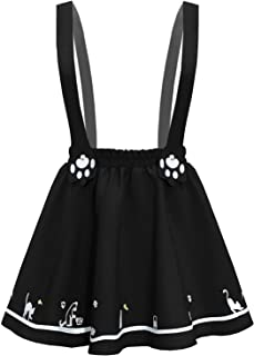 FUTURINO Women's Sweet Cat Paw Embroidery Pleated Mini Skirt with 2 Suspender
