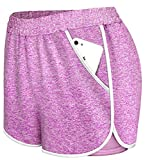 Viracy Shorts for Women Casual Summer,Yoga Shorts for Women with Pockets Double Layers Sweatwear Loungewear Jersey Mid Thigh Athletic Stretchy Side Split Hem Summer Autumn Sport Wears Purple L