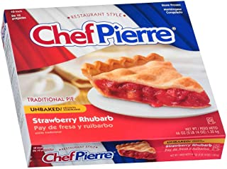 Sara Lee Chef Pierre Traditional Unbaked Strawberry Rhubarb Fruit Pie, 10 inch -- 6 per case.