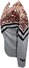 Victoria's Secret Pink Sequins Bling Campus Crew Color Heather Charcoal with Shine Large NWT