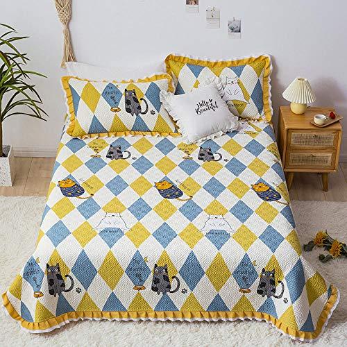 Goodlife-1 Juego de Ropa de Cama Cubierta de Cama de algodón de para decoración de Dormitorio Cubierta Reversible Colcha en Relieve Colcha-PAG_Cubierta de Cama de de 200x230cm