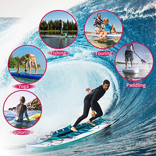 """Product Image 6: MURTISOL 11'32"""" 6"""" Inflatable Stand Up Paddle Board with Premium SUP Accessories, Bottom Fin for Paddling, Leash and Hand Pump Non-Slip Deck Standing Board with 2 Waterproof Bags,Green"""