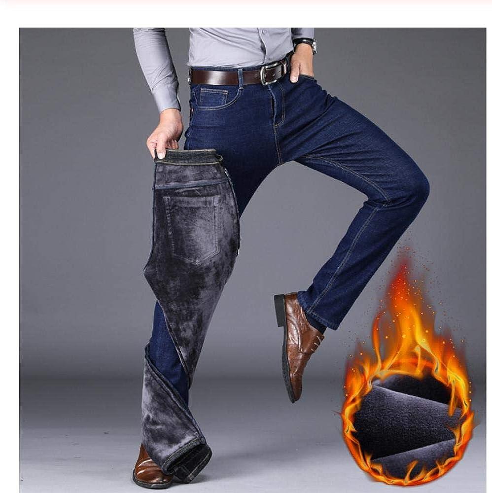 Meaeo Hiver Nouveaux Hommes Chaud Gris Jeans Haute Qualité Élasticité Épaissir Maigre Plus Velours Denim Pantalon Pantalon Mâle Marque Vêtements Blue