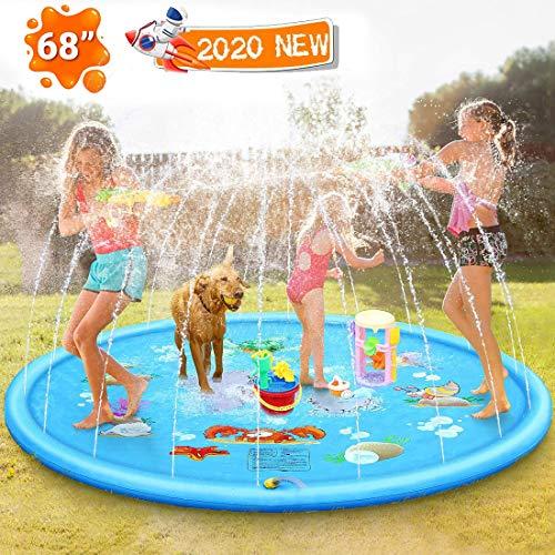Techfection Sprinkler Matte Outdoor Garten Wasserspielzeug Wasserbahn Splash Pad Draußen Sommer Play Pool Big Waterplay für Baby Kinder Hund Haustiere Party Strände Rasenflächen 170CM