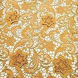 Tela de encaje africano de encaje de guipure 3D con flores en 3D, tela de encaje nigeriano francés, tela bordada para vestido de fiesta de boda con cordón K9 (dorado)