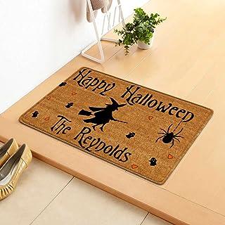 Doormat Outdoor Entrance Trick Or Treat Happy Halloween Witch Decorative Door Mat Rug for Under Mat Seasonal Holiday Carpe...