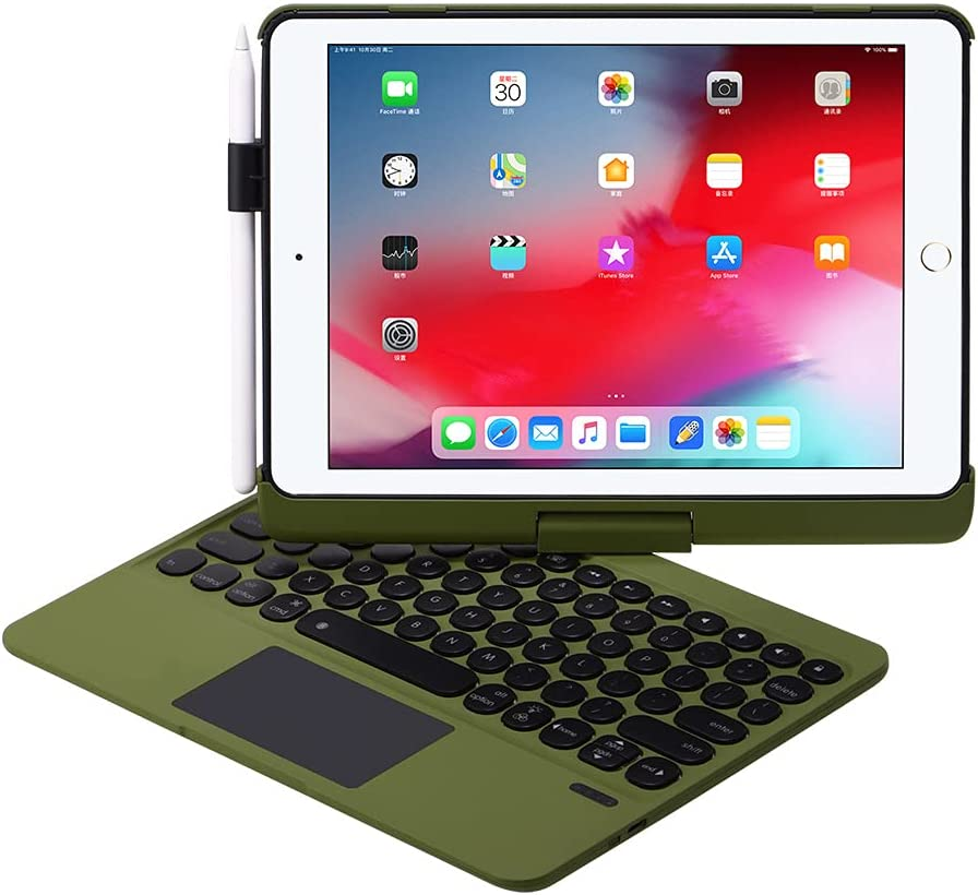iPad Keyboard Case for 10.2 2021 9th 2020 8th 2019 7th, iPad Air 10.5 2019, iPad Pro 10.5 2017 - Backlit - 360 Rotatable - Wireless - 9th Generation Clickable Touchpad - iPad Air 3 - Camo Green