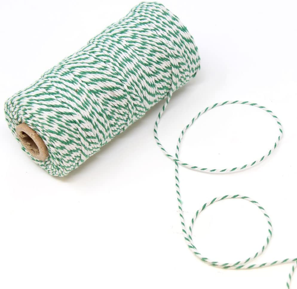 Just Artifacts ECO Bakers Twine 110yd 12Ply Striped Teal 2-Pack, 660-feet Decorative Bakers Twine for DIY Crafts and Gift Wrapping