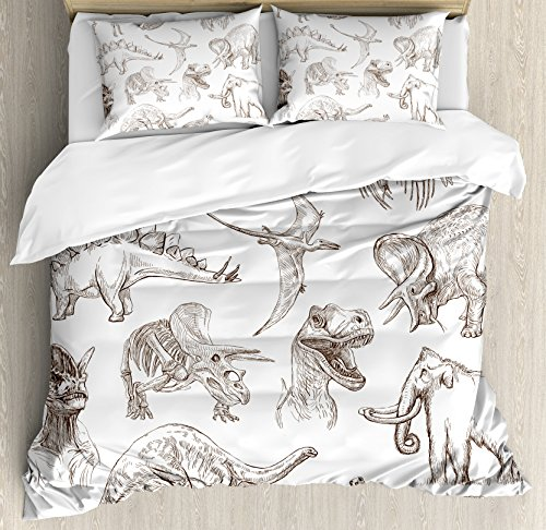 Ambesonne Jurassic Queen Size Duvet Cover Set, Arrangement of Various Dinosaurs Illustrations Skeleton Biology Historic, Decorative 3 Piece Bedding Set with 2 Pillow Shams, Dark Brown White