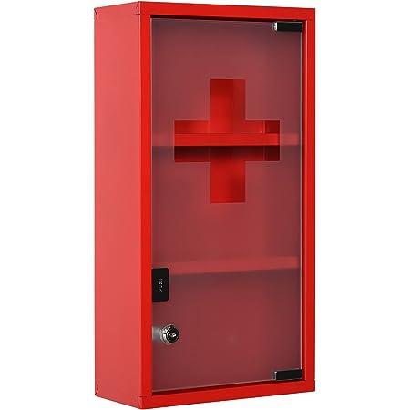 kleankin Armoire à Pharmacie 2 étagères 3 Niveaux verrouillable Porte Verre trempé dépoli Logo Croix 25L x 12l x 48H cm Acier Rouge