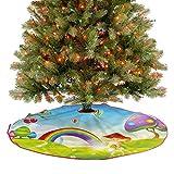 ThinkingPower Falda de árbol de Navidad con diseño de casas de setas, arco iris, decoración de fiesta para dar a tu árbol de Navidad un toque extra de diámetro, 76,2 cm
