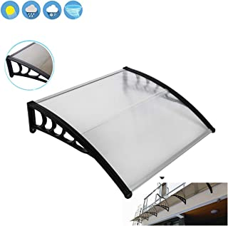 Wegi King Canopy Awning 39x39 Garage Roof,Clear Overhead Window Cover Polycarbonate UV,Rain Snow Protection Hollow Sheet f...