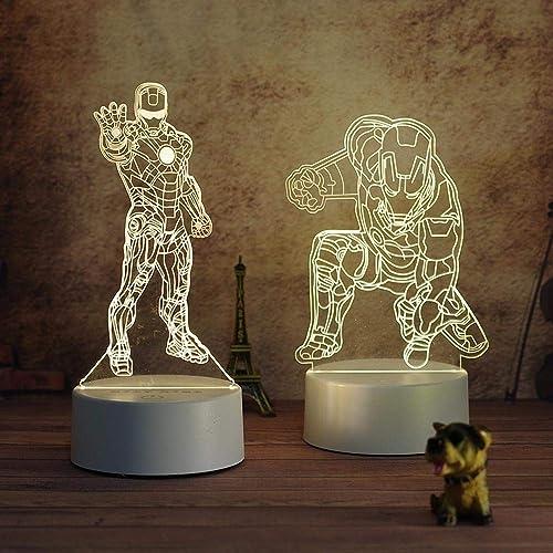 minoristas en línea Marvel Avengers Modelo Modelo Modelo Lámpara De Mesa 3D Creativa para Los Niños con Projoección para Los Ojos, Hombre De Hierro Anime Enchufable Lámpara De Noche Romance A  tienda en linea
