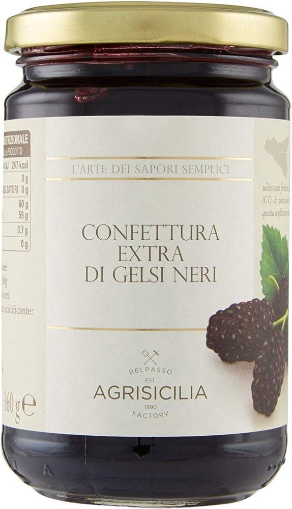 Agrisicilia,marmellata, confettura extra di gelsi neri, 360 g,prodotto artigianale