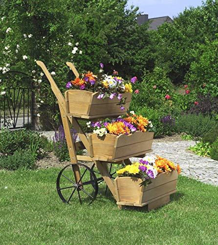 Beauty.Scouts 3er Set Blumenkästen für Blumenkarre Margarete honigbraun imprägniert 68x24x17cm Blumenkasten Blumenaufbewahrung Blumendekoration Gartendeko