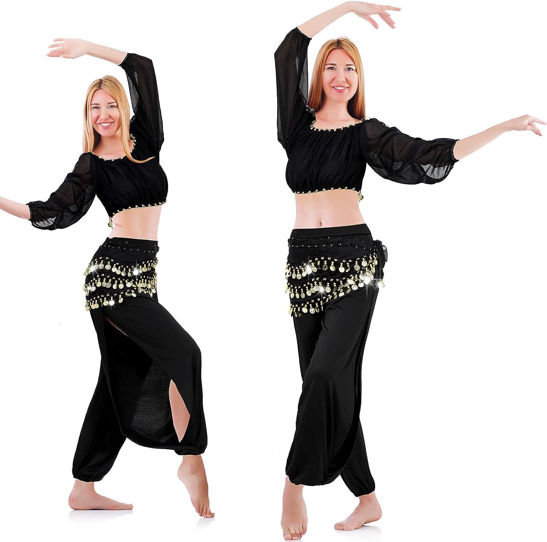 Geyoga Columbus Mall 3 Popular popular Pieces Women Belly Dance Scarf Costume Hip