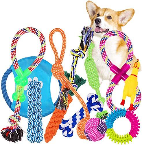 VACNITE Kauspielzeug für Hunde, 12-teiliges Seilspielzeug-Set, Zahnreinigung, ungiftiges Material, lebendige Farben, Baumwolle, interaktives Spielzeug für Hunde
