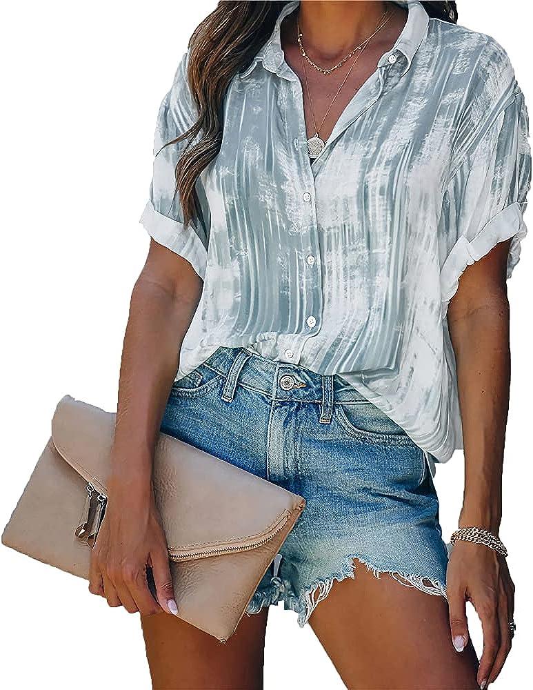 Akivide Womens Summer Button Down V Neck Tie Dye Shirt Casual Chiffon Blouses