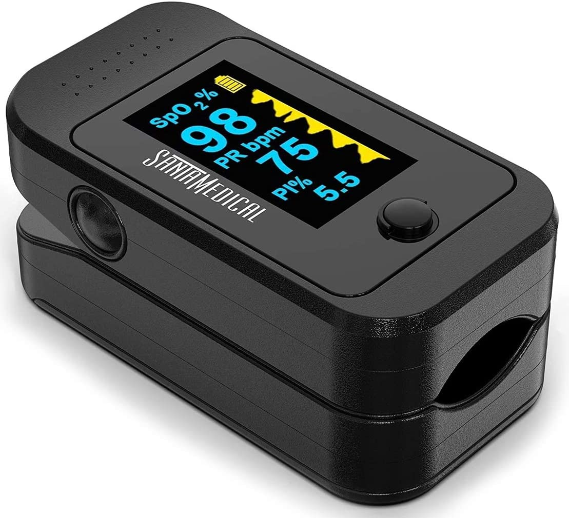 Santamedical Dual Color OLED Pulse Oximeter Fingertip, Blood Oxygen Saturation Monitor (SpO2) with Case, Batteries and Lanyard : Health & Household