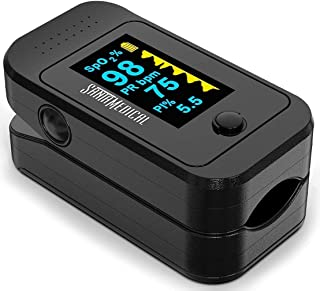 Santamedical Dual Color OLED Pulse Oximeter Fingertip, Blood Oxygen Saturation Monitor..
