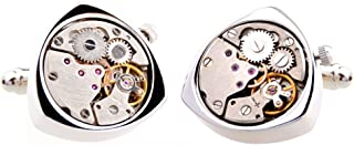HONEY BEAR Cufflinks for Mens - Triangle Working Watch Movement Wedding Business Gift with Box (Silver/Black)