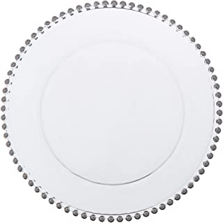 Vision Furniture C Beaded Charger Plates, 13 inch, Clear and Silver