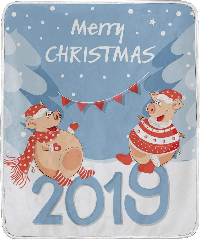 Vantaso Blankets Cute Two Pig Happy Year 2019 Throws Soft Kids Girls Boys 50x60 inch