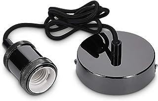 kwmobile Douille de lampe E27 - Suspension luminaire ajustable - Cordon textile 1,20 m - Fixation murale - Bague de fixati...