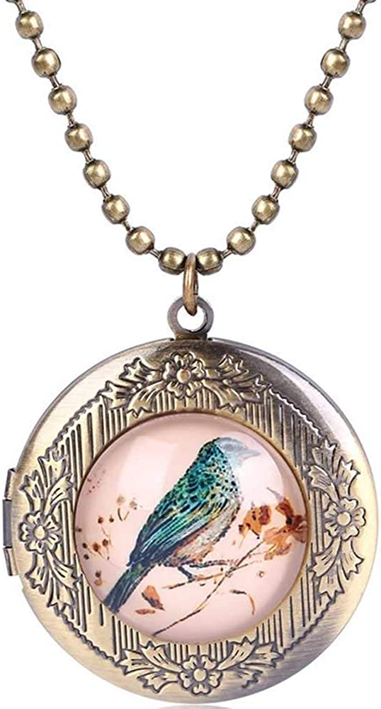 Vintage Yellow Copper Sales for sale Bird Painting Pendant Necklac Locket Inexpensive Style