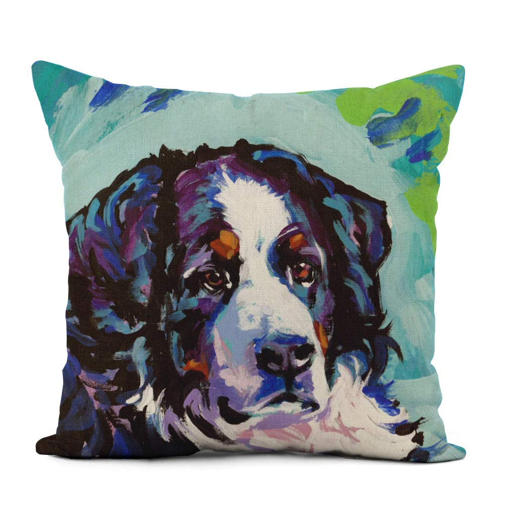 Topyee Throw Pillow Cover 20x20 Inch Berner Bernese Mountain Dog Pop On Painting Portrait Pet Home Decor Pillowcases Square Pillow Cases Cushion Covers For Sofa Couch Bed Home Kitchen
