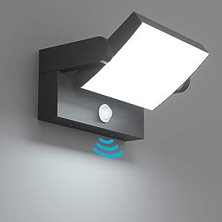 Klighten 24W LED Apliques da Pared Exterior Interior con Sensor de Movimiento, IP65 Lámpara de Pared Ajustable, Lámpara Exterior Aluminio para Corredor Jardines, Blanco Frio 5700K-6000K, Negro